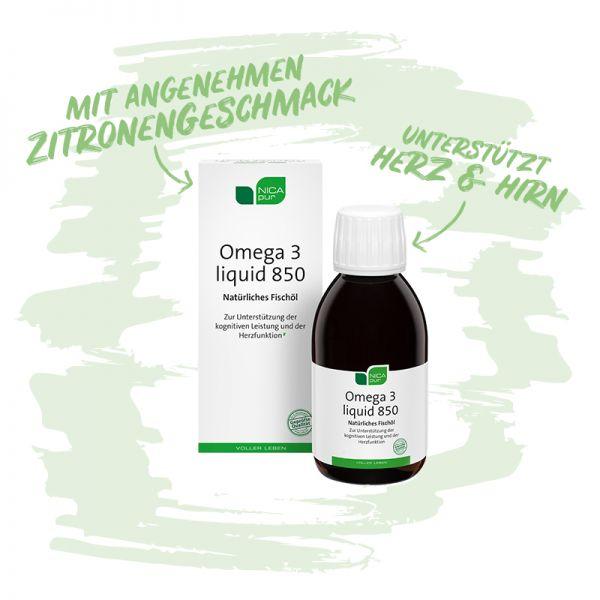 Omega 3 liquid 850 - Natürliches Fischöl, welches Herz und Hirn unterstützt-Reinsubstanz, Glutenfrei, Laktosefrei, Fruktosefrei
