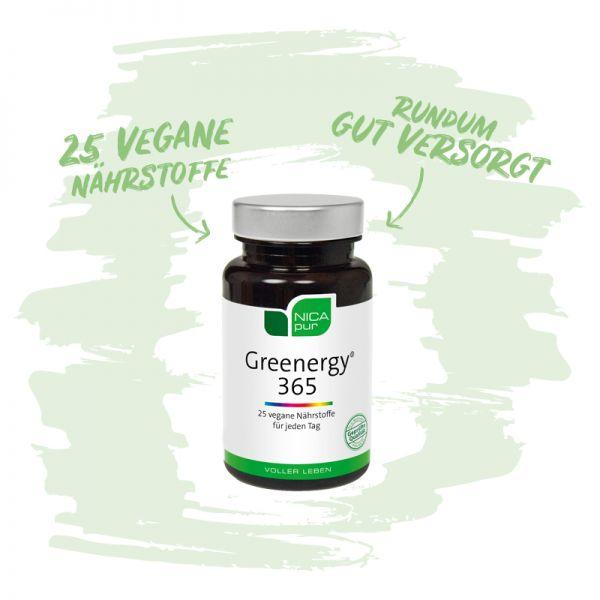 Greenergy® 365 - 25 vegane Nährstoffe für deine Rundumversorgung -   Reinsubstanzen, Glutenfrei, Laktosefrei, Vegan