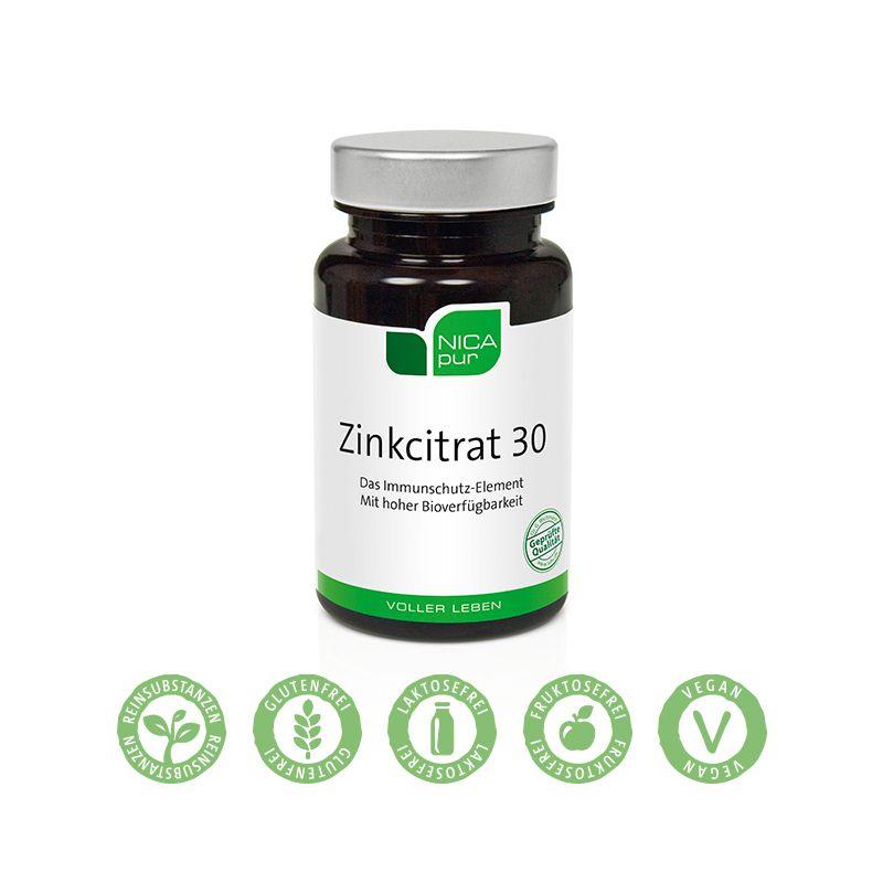 Zinkcitrat mit 30 mg Zink pro Kapsel - zur Unterstützung des Immunsystem - von NICApur®