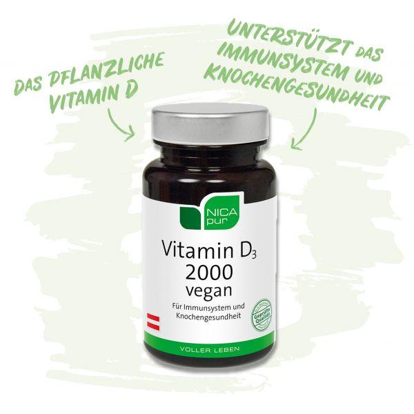 Vitamin D3 2000 vegan - Dein pflanzliches Vitamin D - Unterstützt dein Immunsystem und deine Knochengesundheit