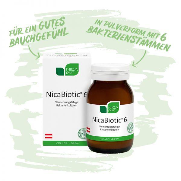 NicaBiotic® 6- Vermehrungsfähige Bakterienkulturen für ein gutes Bauchgefühl - in Pulverform mit 6 Bakterienstämmen- Reinsubstanzen, Glutenfrei, Laktosefrei