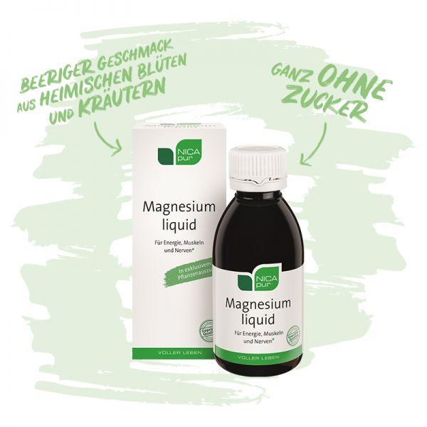Magnesium liquid - flüssiges Magnesium ohne Zucker und für die ganze Familie | Glutenfrei, Laktosefrei, Vegan
