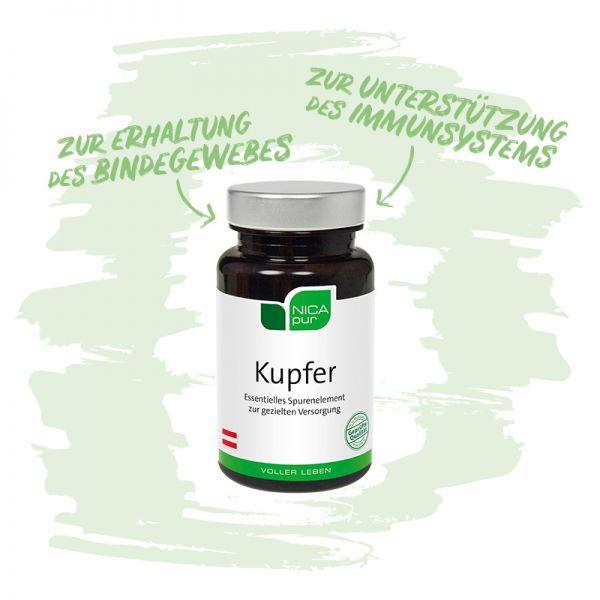 Kupfer - Zur Erhaltung deines Bindegewebes und zur Unterstützung deines Immunsystems - Reinsubstanzen, Glutenfrei, Laktosefrei, Fruktosefrei, Vegan