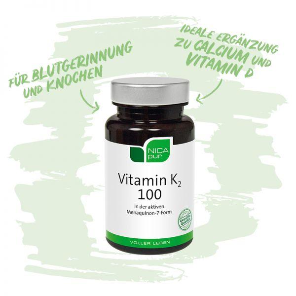 Vitamin K2 100 - Für Blutgerinnung und Knochen - Ideale Ergänzung zu Calcium und Vitamin D - Reinsubstanzen, Glutenfrei, Laktosefrei, Vegan