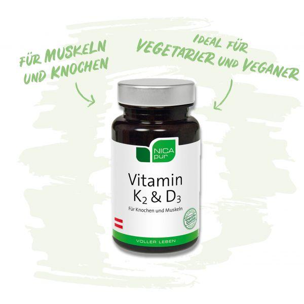 Vitamin K2 und D3 - Für Knochen und Muskeln - Ideal für Vegetarier und Veganer!