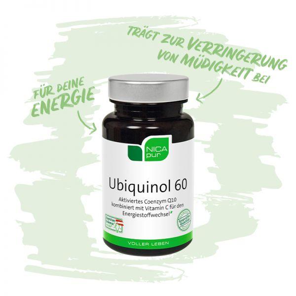 Ubiquinol 60 - Das aktivierte Coenzym Q10 kombiniert mit Vitamin C für den Energiestoffwechsel -Reinsubstanz, Glutenfrei, Laktosefrei, Fruktosefrei