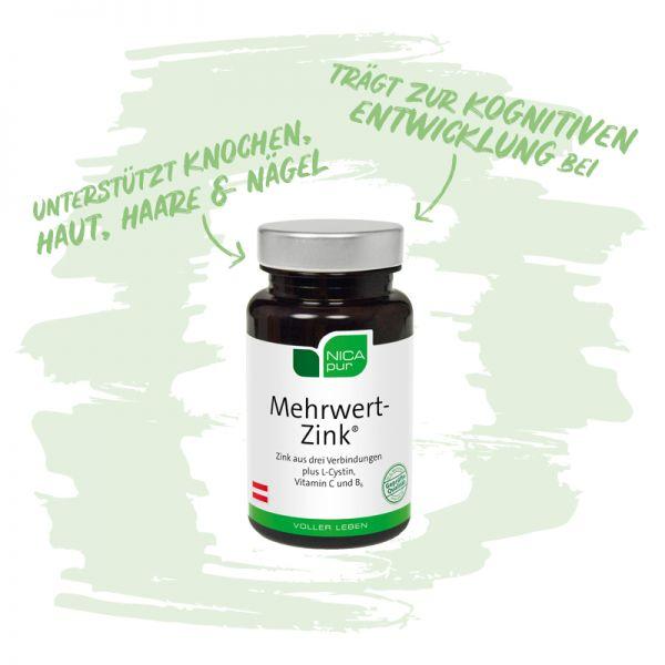 Mehrwert-Zink® - Unterstützt deine Knochen, Haut, Haare und Nägel - Reinsubstanzen, Glutenfrei, Laktosefrei, Fruktosefrei