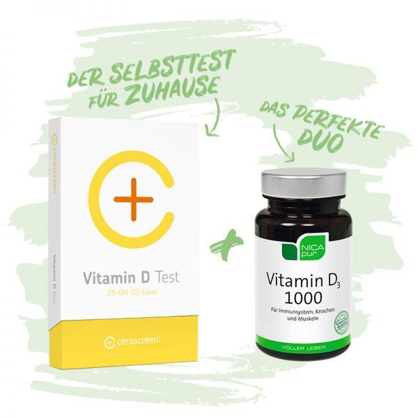 Vitamin D Vorsorgepaket - Das perfekt Duo - Einfach & schmerzfrei zu Hause durchführen - umfangreicher Ergebnisbericht