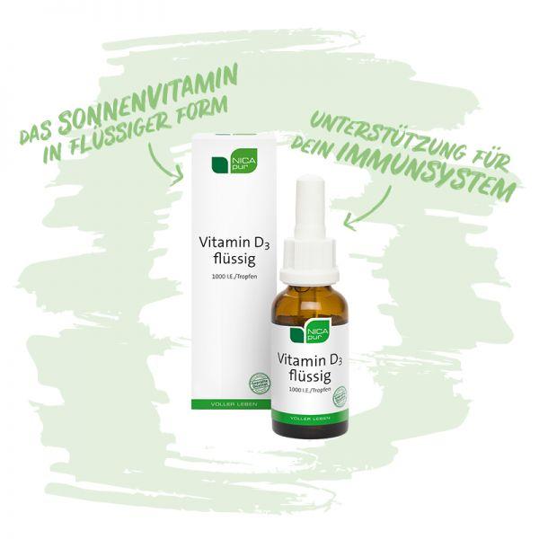 Vitamin D3 flüssig - Unterstützung für dein Immunsystem, die Muskelfunktion und Knochen - Reinsubstanzen, Glutenfrei, Laktosefrei, Fruktosefrei