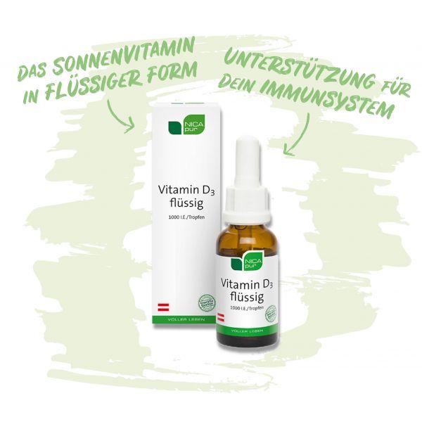 Vitamin D3 flüssig - Unterstützung für dein Immunsystem, die Muskelfunktion und Knochen