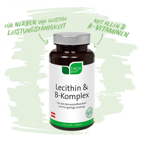 Lecithin & B-Komplex - Deine Gehirn- und Nervennahrung - Reinsubstanzen, Glutenfrei, Laktosefrei