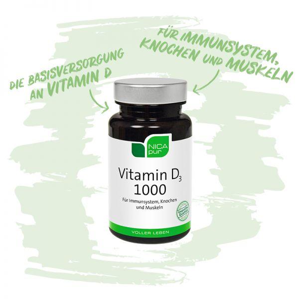Vitamin D3 1000 - Für dein Immunsystem, deine Knochen und Muskeln - Reinsubstanzen, Glutenfrei, Laktosefrei, Fruktosefrei