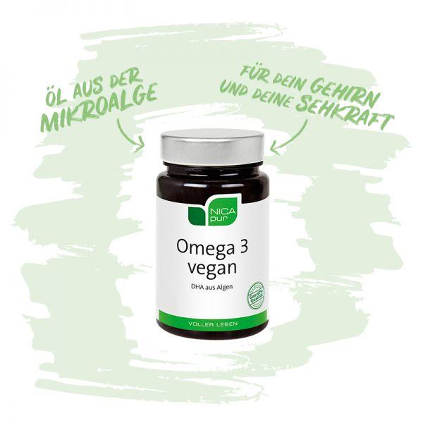 Omega 3 vegan für Gehirn und Sehkraft und Öl aus der Mikroalge-Reinsubstanz, Glutenfrei, Laktosefrei, Fruktosefrei, Vegan