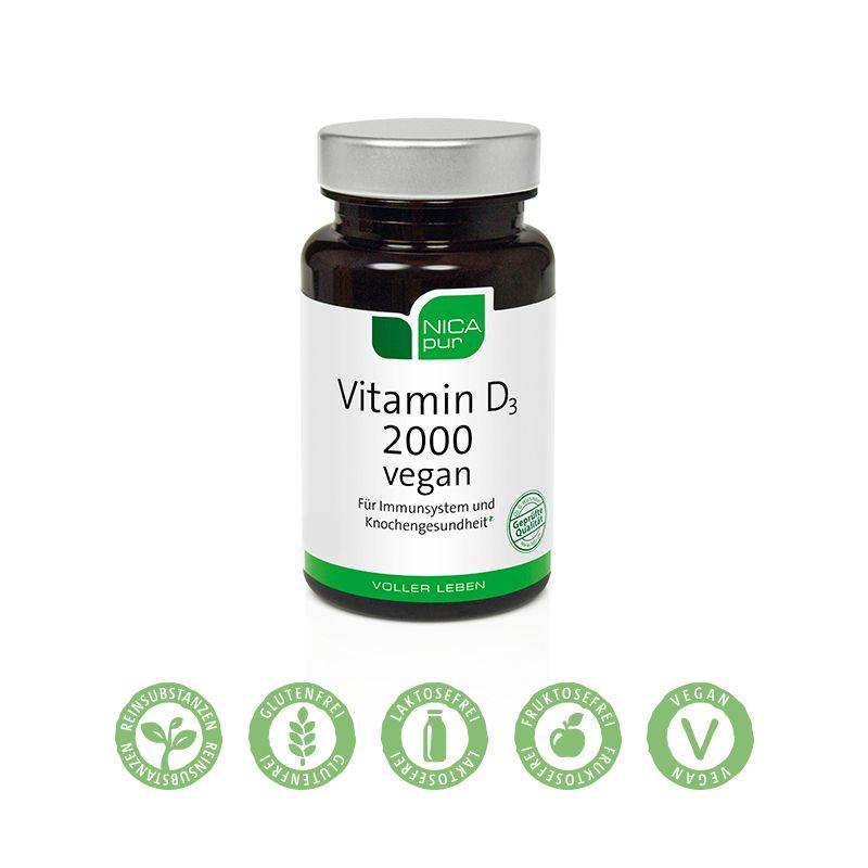 NICApur Vitamin D3 2000 vegan - Pflanzliches Vitamin D3 für dein Immunsystem