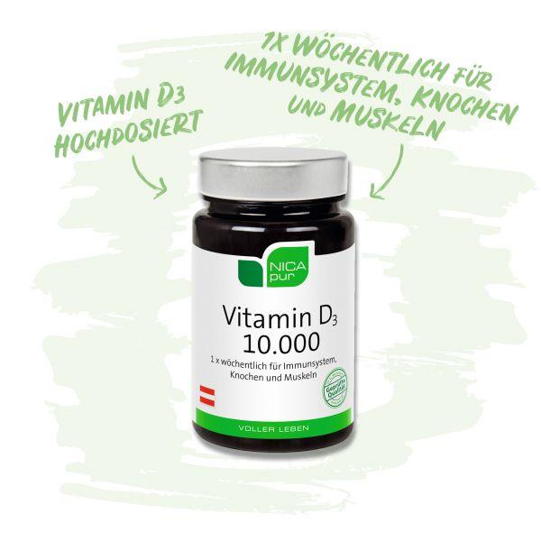 Vitamin D3 10.000 hochdosiert - Für Immunsystem, Knochen und Muskeln