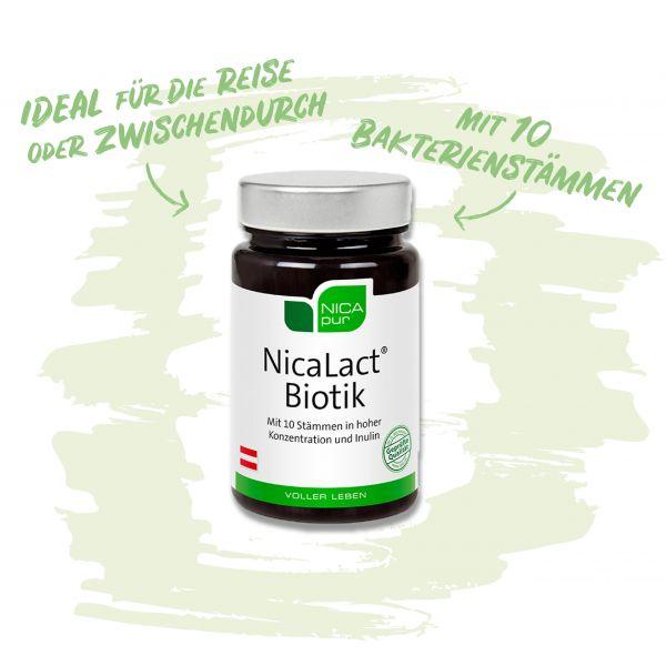 NicaLact® Biotik- Mit 10 Bakterienstämmen - Ideal auf Reisen oder Zwischendurch!