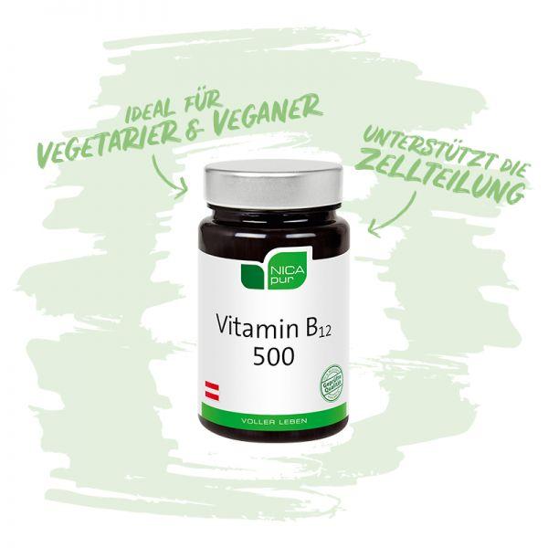 Vitamin B12 500 - Ideal für Vegetarier und Veganer - Reinsubstanzen, Glutenfrei, Laktosefrei, Fruktosefrei, Vegan