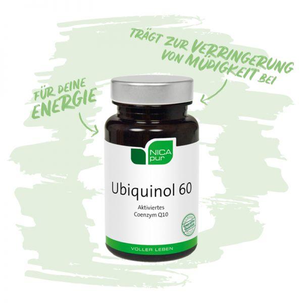 Ubiquinol 60 - Das aktivierte Coenzym Q10 - Trägt zur Verringerung von Müdigkeit bei, für mehr Energie-Reinsubstanz, Glutenfrei, Laktosefrei, Fruktosefrei