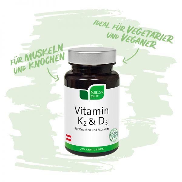Vitamin K2 und D3 - Für Knochen und Muskeln - Ideal für Vegetarier und Veganer! - Reinsubstanzen, Glutenfrei, Laktosefrei, Fruktosefrei, Vegan