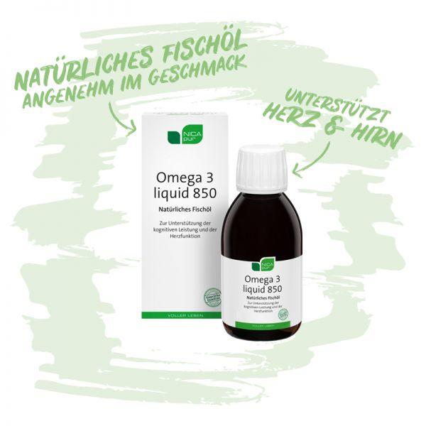 Omega 3 liquid 850 - Natürliches Fischöl, welches Herz und Hirn unterstützt