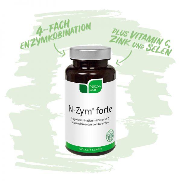 N-Zym®-forte- 4-fach Enzymkombination mit Vitamin C, Zink und Selen-Reinsubstanz, Glutenfrei, Laktosefrei