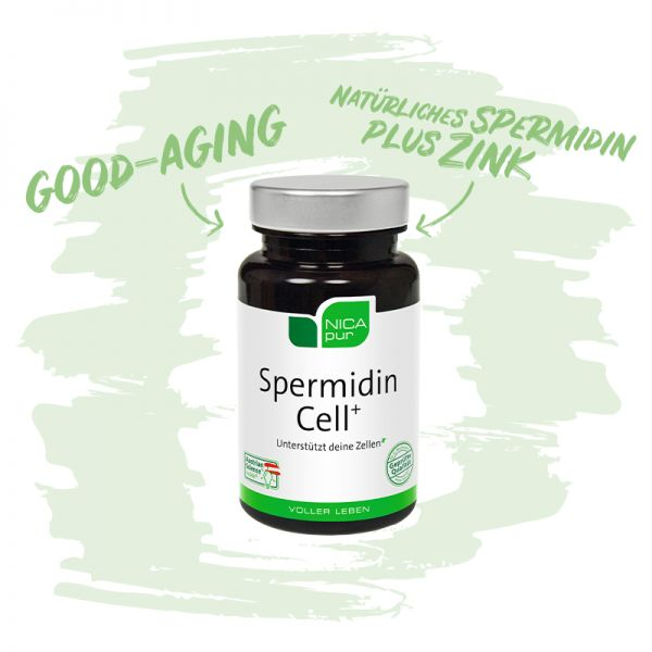 Spermidin Cell+ | Mit natürlichem Spermidin plus Zink | Reinsubstanz, Glutenfrei, Laktosefrei, Vegan