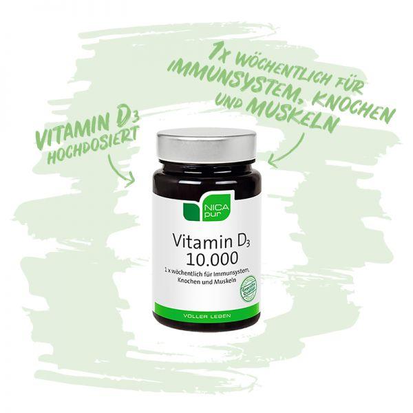 Vitamin D3 10.000 hochdosiert - Für Immunsystem, Knochen und Muskeln - Reinsubstanzen, Glutenfrei, Laktosefrei, Fruktosefrei