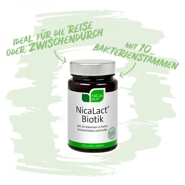 NicaLact® Biotik- Mit 10 Bakterienstämmen - Ideal auf Reisen oder Zwischendurch! Reinsubstanz, Glutenfrei, Laktosefrei