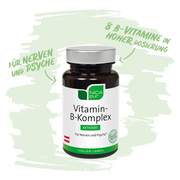 Vitamin-B-Komplex aktiviert- Für deine Nerven und Psyche mit 8 B-Vitaminen in hoher Dosierung - Reinsubstanzen, Glutenfrei, Laktosefrei, Fruktosefrei, Vegan