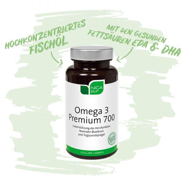 Omega 3 Premium 700- Hochkonzentriertes Fischöl zur Erhaltung einer gesunden Herzfunktion-Reinsubstanz, Glutenfrei, Laktosefrei, Fruktosefrei