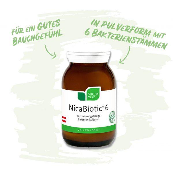 NicaBiotic® 6- Vermehrungsfähige Bakterienkulturen für ein gutes Bauchgefühl - in Pulverform mit 6 Bakterienstämmen