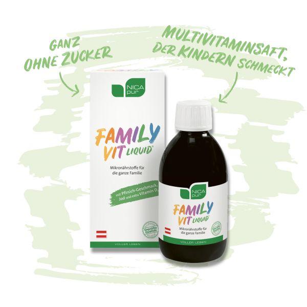 FamilyVit liquid® - Ausgewählte Nährstoffe für die gesamte Familie, der besonders den Kindern schmeckt - Jetzt im neuen Outfit!
