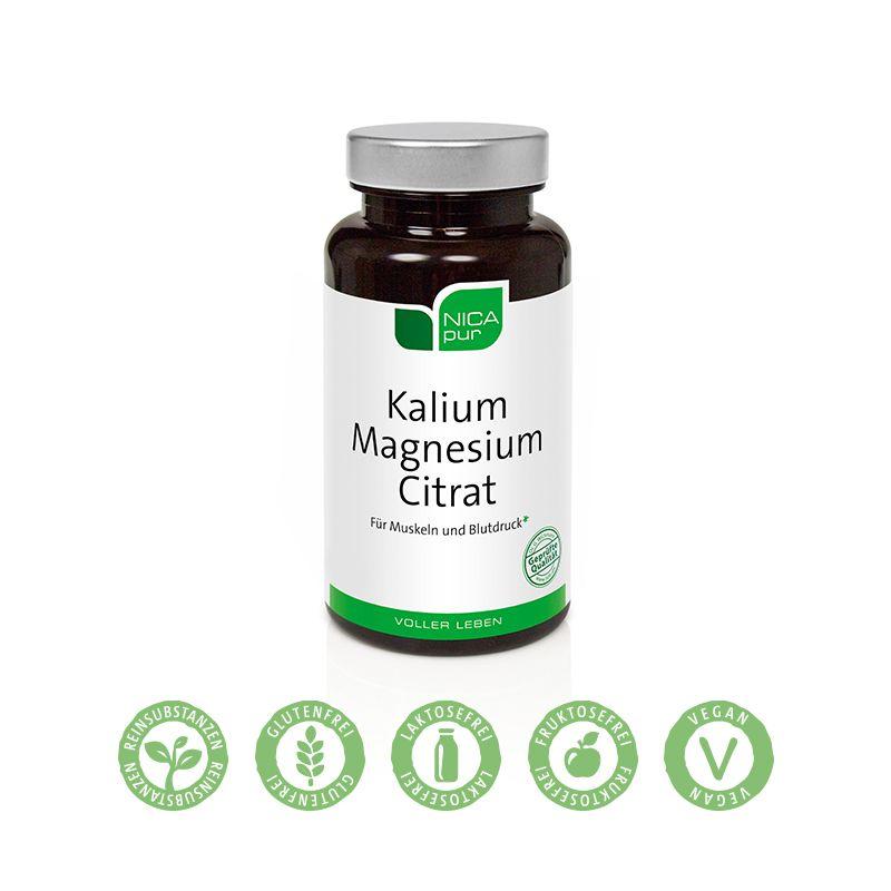 NICApur Kalium Magnesium Citrat - 60 Kapseln -  Muskeln und Blutdruck