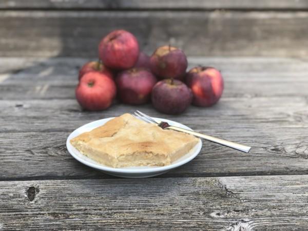Apfelkuchen-mit-Muerbteig-auf-Holztisch