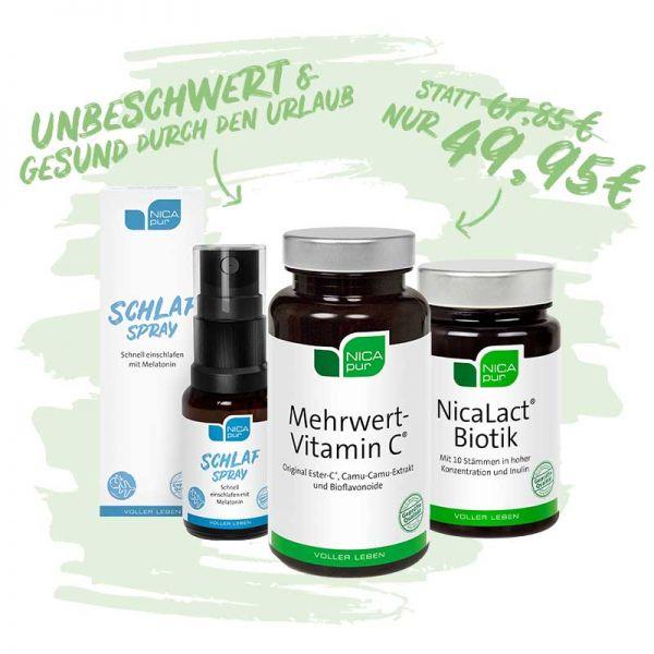 Unbeschwert & gesund durch den Urlaub | Schlaf Spray, Mehrwert-Vitamin C®  und NicaLact®  Biotik