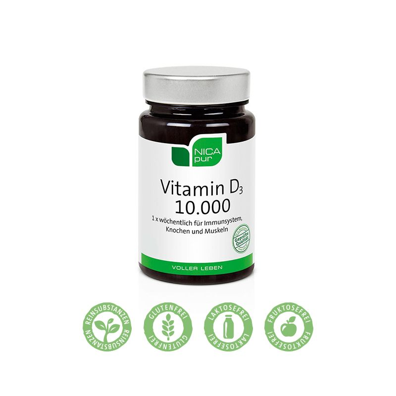 NICApur Vitamin D3 10.000 - 1 x wöchentlich für Immunsystem, Knochen & Muskeln