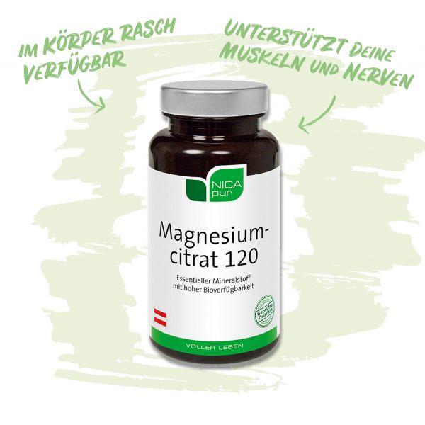 Magnesiumcitrat 120 - Unterstützt deine Muskeln und Nerven - im Körper rasch verfügbar!