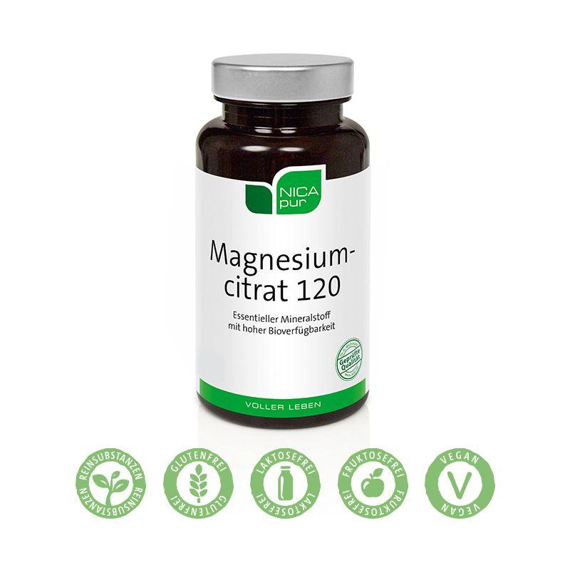 NICApur Magnesiumcitrat 120 - Unterstützt rasch deine Nerven und Muskeln