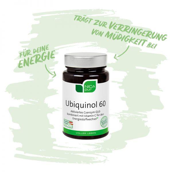 Ubiquinol 60 - Das aktivierte Coenzym Q10 kombiniert mit Vitamin C für den Energiestoffwechsel - Reinsubstanzen, Glutenfrei, Laktosefrei, Fruktosefrei